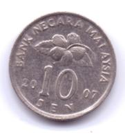 MALAYSIA 2007: 10 Sen, KM 51 - Malaysia