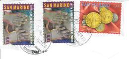 SAN MARINO 2005/2014 - 3 VALORI USATI SU FRAMMENTO - Saint-Marin
