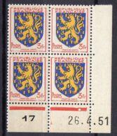 FRANCE (COINS DATES) : Y&T  N° 903  DU  26/04/1951  TIMBRES  NEUFS  SANS TRACE  DE  CHARNIERE ,   A  V0IR . - Hoekdatums