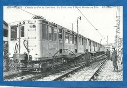 75 PARIS Chemin De Fer Du Nord Au Sud ,un Train Avec Voiture Motrice En Tête ,locomotive,métropolitain ( Photo 9/14 Cm - Métro Parisien, Gares