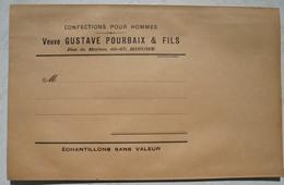 Enveloppe Envoi échantillon BINCHE Confection Pour Hommes Textile Veuve Gustave Pourbaix Rue De Merbes - Vieux Papiers