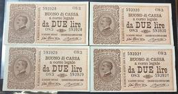2 Lire Vitt. Em. III° Serie 083 28 12 1917 R2 Q.spl 4 Esemplari Consecutivi Sup/fds  LOTTO 2749 - [ 1] …-1946 : Royaume