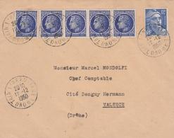 CERES 60C X 5 + GANDON 12F SUR LETTRE AU TARIF TAIN L HERMITAGE DROME 12/12/1950 POUR VALENCE - Postmark Collection (Covers)