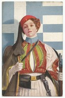 Postcard Carte Postale CPA AK Ansichtkaart Greece Flag Military Girl Edit Reinthal & Newman NY, 1918 Unc. - Europe