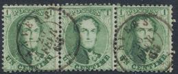 """Médaillon Dentelé - N°13A En Bande De 3 Obl Double Cercle """"Anvers"""" (Fév. 1865). Superbe ! - 1863-1864 Medaillons (13/16)"""