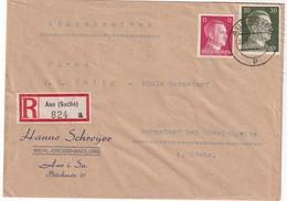 ALLEMAGNE 1942 LETTRE RECOMMANDEE DE AUE AVEC CACHET ARRIVEE OBERLUNGWITZ - Covers & Documents