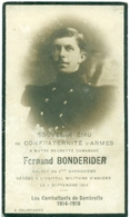 WO1 / WW1 - Doodsprentje Fernand Bonderider - /Antwerpen  - Gesneuvelde - Décès
