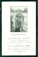 WO1 / WW1 - Doodsprentje Cajetan Coët - Turnhout /   - Gesneuvelde - Décès
