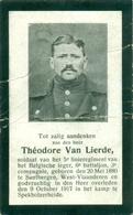 WO1 / WW1 - Doodsprentje Théodore Van Lierde - Zandbergen / Spekholzerheide (NL)  - Gesneuvelde - Décès