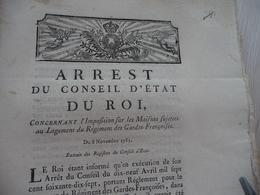 Arrest Du Conseil D'Etat Du Roi 08/11/1783 Imposition Maisons Sujettes Au Logement Du Régiment Des Gardes Françaises - Decrees & Laws