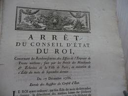 Arrest Du Conseil D'Etat Du Roi 17/12/1786 Remboursement Effets Emprunts... Mouillures - Decrees & Laws