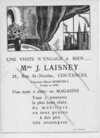 COUTANCES CARTE PUBLICITAIRE  MEUBLES  Mme J LAISNEY 5 (DESSIN JEAN THEZELOUP) - Autres Communes