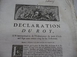 Déclaration Du Roi 06/03/1751 Testaments - Decrees & Laws