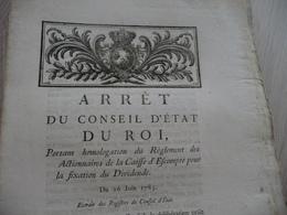 Arrêt Du Conseil D'Etat Du Roi 26/06/1785 Homologation Règlements Actionnaires Caisse D'escompte - Decrees & Laws