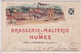 52 HUMES Brasserie Malterie ,carte Publicitaire De Représentant - France