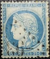 N°60A Cérès 25c Bleu. Oblitéré Losange G.C N°-93- Les Andelys - 1871-1875 Ceres