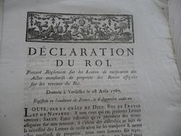 Déclaration Du Roi 28/08/1787 Règlement Lettres Ratification Actes Propriétés - Decrees & Laws