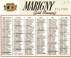 Calendrier 1961 Marigny Filtre Goût Français - Calendarios