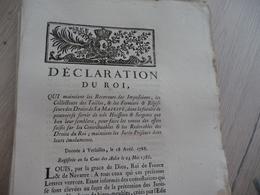 Déclaration Du Roi 18/04/1786 Maintien Des Receveurs Des Impositions..... - Decrees & Laws