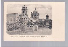 PAKISTAN Karachi Sind Art's College & Victoria Museum Ca 1905 Old Postcard - Pakistan