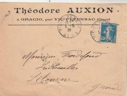 Yvert 140 Semeuse Lettre Entête Théodore Auxion à Gracio VIC FEZENSAC Gers 5/5/1920 Pour Libourne Gironde - Poststempel (Briefe)