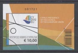 Cyprus (Republic) - 2012 Cyprus Presidency Of The European Union Block MNH__(TH-13524) - Chypre (République)