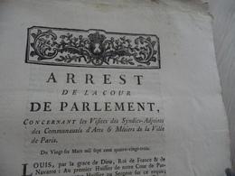 Arrest Cour Du Parlement 26/03/1783 Visites Des Syndics Adjoints Des Communautés Arts Et Métiers Paris - Decrees & Laws