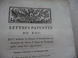 Lettres Patentes Du Roi 28/12/1782 Remises Gratifications Des Fermes Et Régies Du Roi - Decrees & Laws
