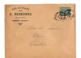 B17 03 03 1904 Lettre Entete Hotel Des Voyageurs A Quimper Dept  22 29 56 35 - Marcophilie (Lettres)