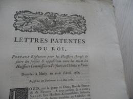 Lettres Patentes Du Roi Avril 1981 Règlement Des Huissiers....Châtelet De Paris - Decrees & Laws