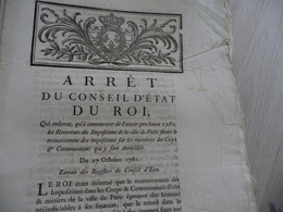 Arrêt Du Conseil D'Etat Du Roi 27/10/1781 Receveurs Des Impositions De Paris Feront Le Recouvrement - Decrees & Laws