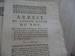 Arrêt Du Conseil D'Etat Du Roi 14/08/1742 Bernage Et Rossignol Intendants Provinces Languedoc Au Lieu De Basville/Bouche - Decrees & Laws