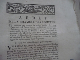 Arrêt De La Chambre Des Comptes 23/06/1797 Rentes Viagères - Decrees & Laws