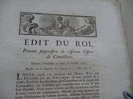 Edith Du Roi Février 1783 Suppressions Offices De Contrôleurs - Decrees & Laws