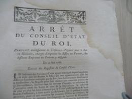 Arrêt Du Conseil D'Etat Du Roi 10/05/1786 établissements Trésoriers Payeurs Mouillures - Decrees & Laws