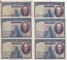 SERIE COMPLETA DE 6 BILLETES DE 25 PTAS DEL AÑO 1928 TODAS LAS SERIES (SS-A-B-C-D-E) - [ 2] 1931-1936 : Repubblica