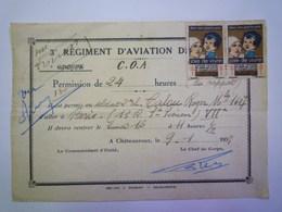 2020 - 5649  3è Régiment D'aviation De Chasse  :  Permission De 24 Heures  (Châteauroux 1933)  XXX - Aviazione