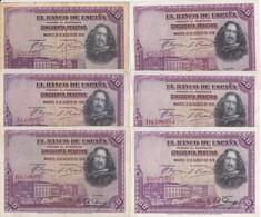 SERIE COMPLETA DE 6 BILLETES DE 50 PTAS DEL AÑO 1928 TODAS LAS SERIES (SS-A-B-C-D-E) - [ 2] 1931-1936 : Repubblica