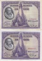 SERIE COMPLETA DE 2 BILLETES DE 100 PTAS DEL AÑO 1928 TODAS LAS SERIES (SS-A) - [ 2] 1931-1936 : Republiek