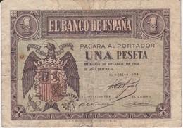 BILLETE DE 1 PTA DEL 30 ABRIL 1938 SERIE A CALIDAD BC  (BANKNOTE) - 1-2 Pesetas