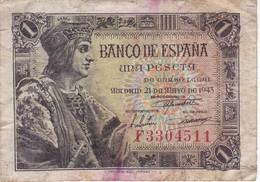 BILLETE DE ESPAÑA DE 1 PTA  DEL AÑO 1943 SERIE F CALIDAD RC (BANKNOTE) - 1-2 Pesetas