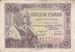 BILLETE DE ESPAÑA DE 1 PTA DEL 15/06/1945 ISABEL LA CATÓLICA SERIE I (BANK NOTE) - 1-2 Pesetas