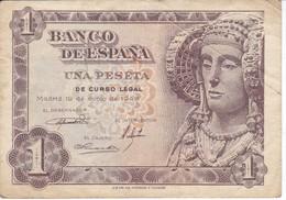 BILLETE DE 1 PTA DEL AÑO 1948 SERIE E CALIDAD MBC (VF)  DAMA DE ELCHE  (BANKNOTE) - 1-2 Pesetas