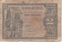 BILLETE DE 2 PTAS DE 1938 CATEDRAL DE BURGOS SERIE L  (BANKNOTE) - 1-2 Pesetas