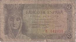 BILLETE DE ESPAÑA DE 5 PTAS DEL 13/02/1943 SERIE E  CALIDAD RC  (BANKNOTE) - [ 3] 1936-1975 : Regime Di Franco
