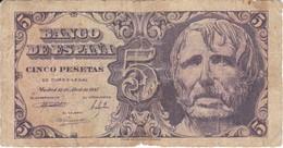 BILLETE DE ESPAÑA DE 5 PTAS DEL AÑO 1947 SIN SERIE  CALIDAD RC   (BANKNOTE) - [ 3] 1936-1975 : Regime Di Franco
