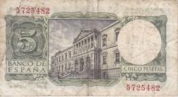 BILLETE DE 5 PTAS DEL AÑO 1954 DE ALFONSO X SIN SERIE  (BANKNOTE) - [ 3] 1936-1975 : Regime Di Franco
