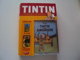 (Neuf Dans Son Emballage) TINTIN  2 AVENTURES INTÉGRALES  TINTIN  En AMÉRIQUE Et L'OREILLE CASSÉE - Dessin Animé