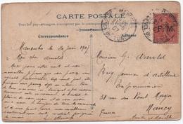 Timbre FRANCHISE MILITAIRE 10c Semeuse Lignée (129) Surcharge FM Oblitération Cachet R01 MANOUBA (TUNISIE) 1907 TB ! - Franchise Stamps