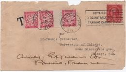 Devant De Lettre USA TAXE SIMPLE De Réexpédition UPU Banderole Duval 25c Rose X 3 PARIS 1926 - Taxes